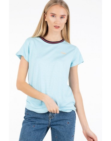Camiseta Tommy Jeans RIB NECK STRIPE