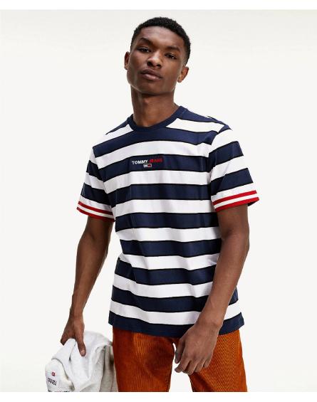 Camiseta de rayas mixta con logo bordado DM0DM09403 C89