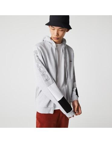 Lacoste Sudadera de hombre con capucha y cremallera en felpa con diseño color block